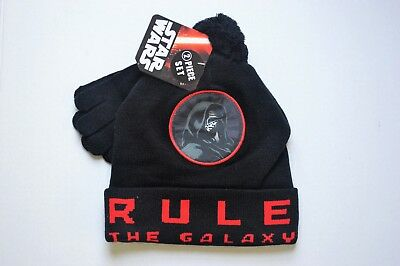 New Boys Star Wars Kylo Ren Knit Hat Gloves 2 piece set Beanie NEW