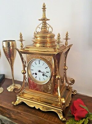 Victorian French 8 Day Striking Mantel Clock In Gilt Case Fully Serviced