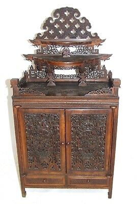 RARE Antique Carved Chinese Table Top Cabinet Chest Ladies / Wedding Cabinet