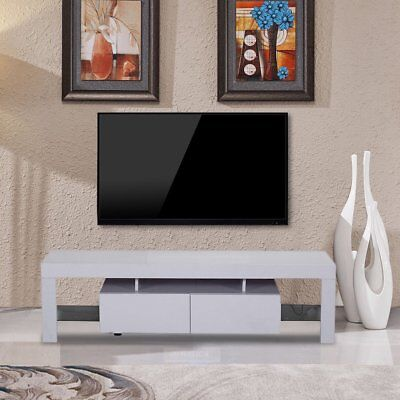 High Gloss White Tv Stand Unit Cabinet Console Furniture Shelves 2