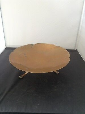 Arts And Crafts Period Copper Dish With 3 Feet