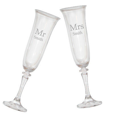 Personalised Engraved Mr & Mrs Crystal Champagne Flutes Glasses Wedding Gift