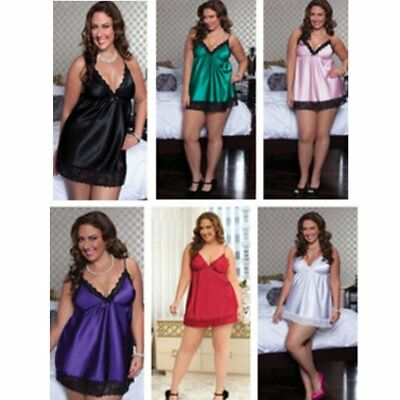 Plus Size Women Satin Lace Dress Lingerie Underwear Babydoll Sleepwear GU