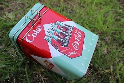 Coca Cola Metal Box Square with Lock-Up for Storing