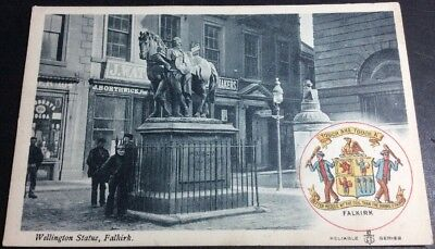 Vintage Falkirk Postcard Wellington Statue [by Spire] Coat Of Arms BW/Col. UU