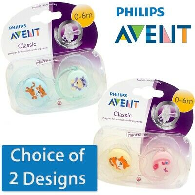 Philips Avent Classic Soother Twin Pack - Age 0-6m CHOICE OF DESIGN  (A75)