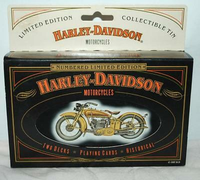 Collector Tin Harley Davidson Motorcycle With Two Decks Of Playing Cards ~BRS