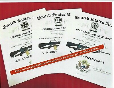 U.S. Army Expert, Marksman or Sharpshooter Rifle Replacement Certificate