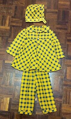 Adorable 1930s Baby's Yellow Checked Suit With Bonnet