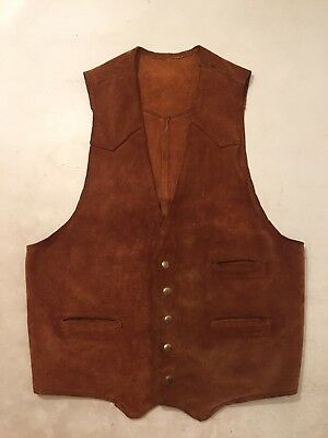 Wow TRUE VINTAGE Suede Leather Vest Brass Snap Civil War Style Country OLD SOFT!