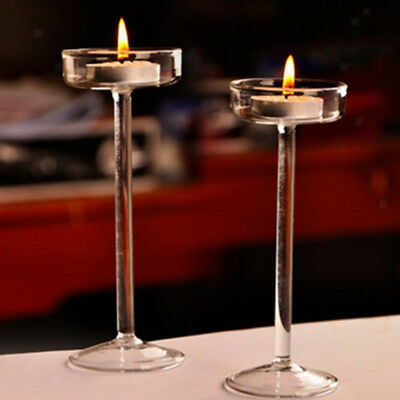 Set of 3 Elegant Clear Glass Tea Light Candle Holders Wedding Table Centrepiece