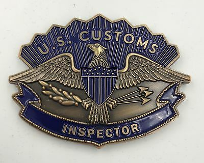 Legacy U.S. Customs Inspector Badge and Hat Device with Flag Challenge Coin CBP