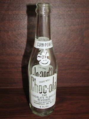 1970s 9oz CHOC-OLA Chocolate ACL Soda Bottle - INDIANAPOLIS IN - Cow Power