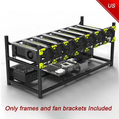 8 GPU Miner Case Aluminum Stackable Mining Case Rig Open Air Frame For Ethereum