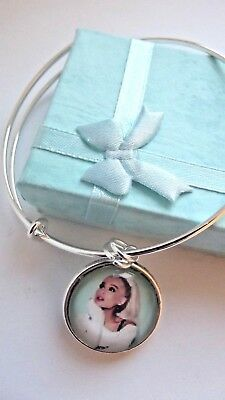 Ariana  Grande Silver Plated Photo Bangle Charm Dance Music Gift Boxed Party