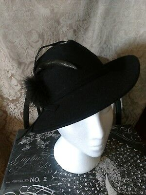 d5f0d34b823 Vintage Hat black 100% wool Lancaster fedora made in the USA with feather  accent