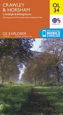CRAWLEY & HORSHAM Map - OL 34 - OS  Ordnance Survey - *NEW* INC. MOBILE DOWNLOAD