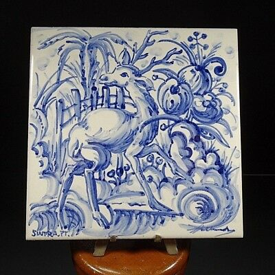 Portugal Portuguese Deer Ceramic Tile Hand Painted Blue And White Signed