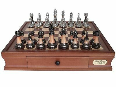 Dal Rossi Italy Metal/Marble Finish Chess Set on 40cm Board/Storage Box - NEW