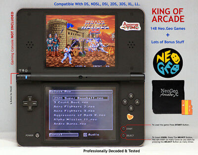 Neo Geo Arcade X Gaming Card for Nintendo DS,NDSL,DSi,2Ds,3Ds,XL,LL, KING ARCADE