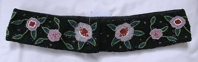 """Retro 1980's Deco Style Black & Pink Floral Beaded Embroidered Belt Sz 32"""" Waist"""