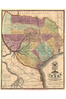Map of Austin, Texas; Antique Reproduction; Tanner, 1837