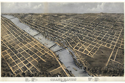 Map of Grand Rapids, Michigan by Ruger; 1868; Antique Birdseye Map