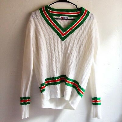 POINT SET Vintage Unisex Tennis Sweater Acrylic 1970s V Neck Cable Knit