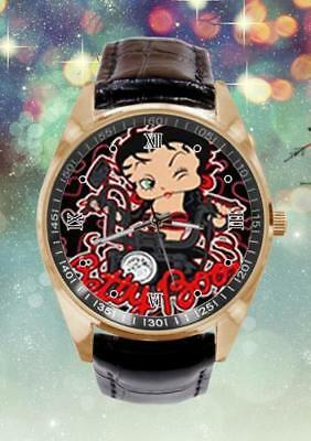 NEW Betty Boop And Motorcycle Custom Leather Band Quartz Sport Analogue Watch