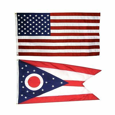 US Flag with Ohio State Flag 3 x 5 - 100% American Made - Nylon