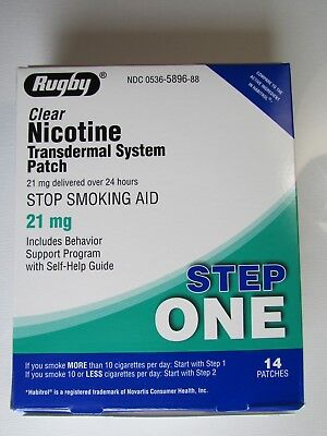 RUGBY Nicotine Patch 21mg 14 patches expires 10/20 step one (damaged box)