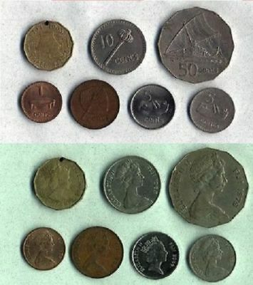 FIJI 1980-2000 Set of 7 CIRCULATED COINS FROM 1 CENT TO 50 CENTS X/FINE COND.