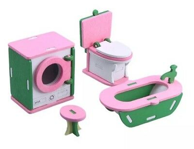 Dollhouse Miniature Bathroom Set Green Pink 1:12 Scale 4-8cm US Seller