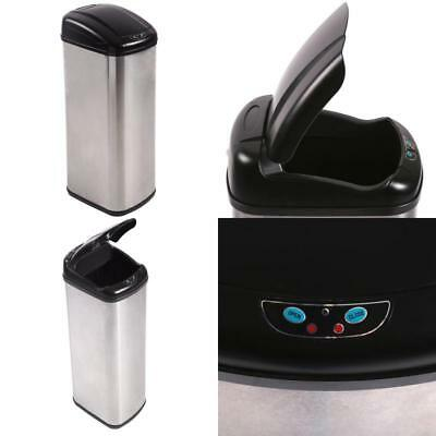 13 Gallon Automatic Sensor Touchless Deodorizer Trash Can Stainless Steel X-Wide