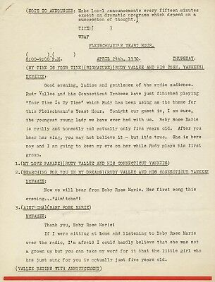 1930 BABY ROSE MARIE ORIGINAL RADIO SHOW SCRIPT RUDY VALLEE w/ AUTOGRAPHED CHECK