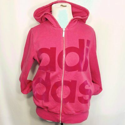 af8b1572add7 ADIDAS PINK PULLOVER hoodie sweatshirt black graphics sz L the go to ...
