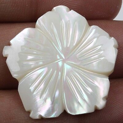 Carving Flower Natural WHITE MOTHER OF PEARL 17 Cts Gemstone 28x28 mm S-22188