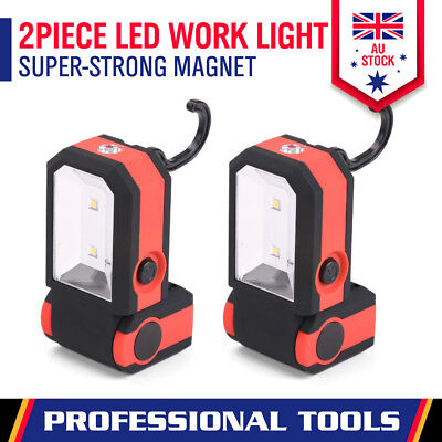 2 x LED Work Torch Fordable Magnetic Camping Light Hook Hanging Super Bright New