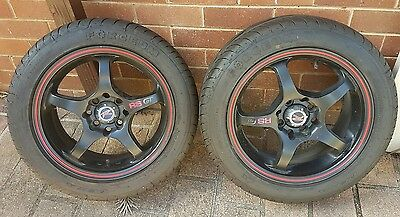 4 x 15 inch 4 multi stud black wheels / mags basically brand new mags and tyres