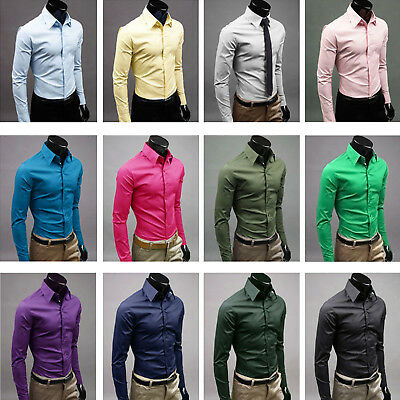 Mens Formal Long Sleeve Shirt Slim Fit Casual Polo Neck Business Work Luxury Top