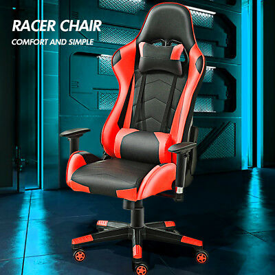 Office Chair Sport Game Racing Bucket Seat Executive Computer PU Leather Recline