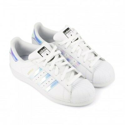 ADIDAS SUPERSTAR J BLANC Baskets Enfants Sneakers White/Metallic Silver AQ6278