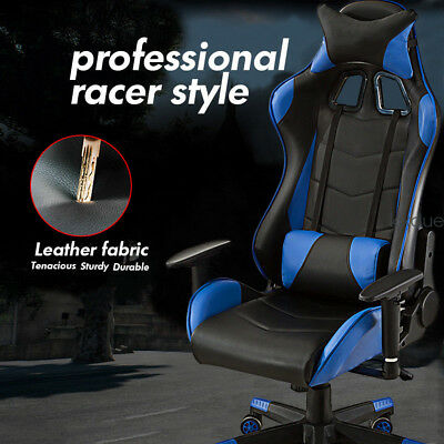 Computer Office Chair Bucket Seat Sport Gaming Racing  PU Leather Recline Blue
