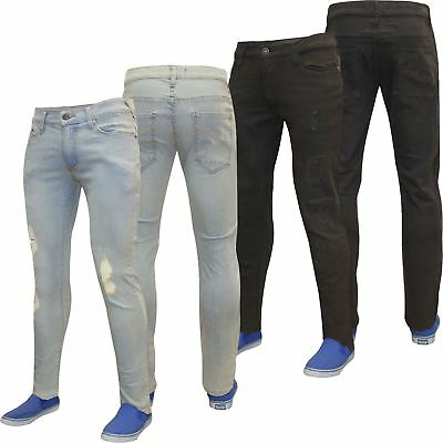 Mens Denim Pants Designer Distressed Ripped Jeans Frayed Skinny Stretch Jeans