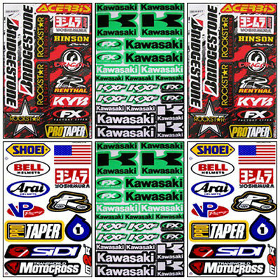 New Kawasaki Motocross Decal Sticker Kit Set 6 Sheets KM-601