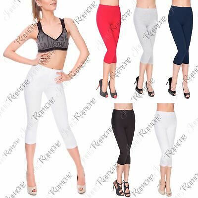 New Womens Plain Stretchy Cotton 3/4 Length Cropped Summer Capri Leggings Pants