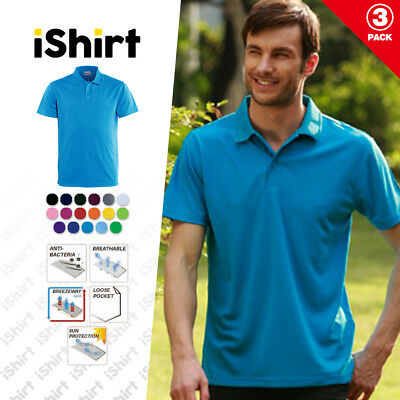 3Pcx Mens Polo Shirt 100% Polyester Cool Dry Breathable Plain Colour Basic Polo