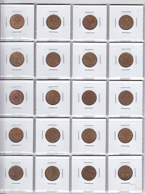 20 x 1943 Canadian Tombac 5-Cent Coins