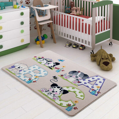 Kids Rug ABC Shapes With Dogs Hand Carved Baby Play Room Nursery Learning Carpet