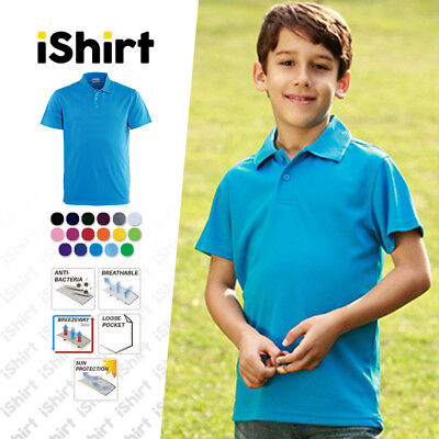 Kids Polo Shirt 100% Polyester Cool Dry Breathable Plain Colour Basic Polo
